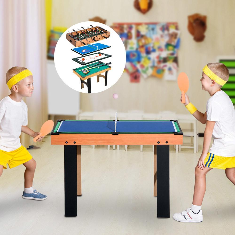 Mesa Multijuegos 4 En 1 Futbolin Air Hockey Ping Pong Billar