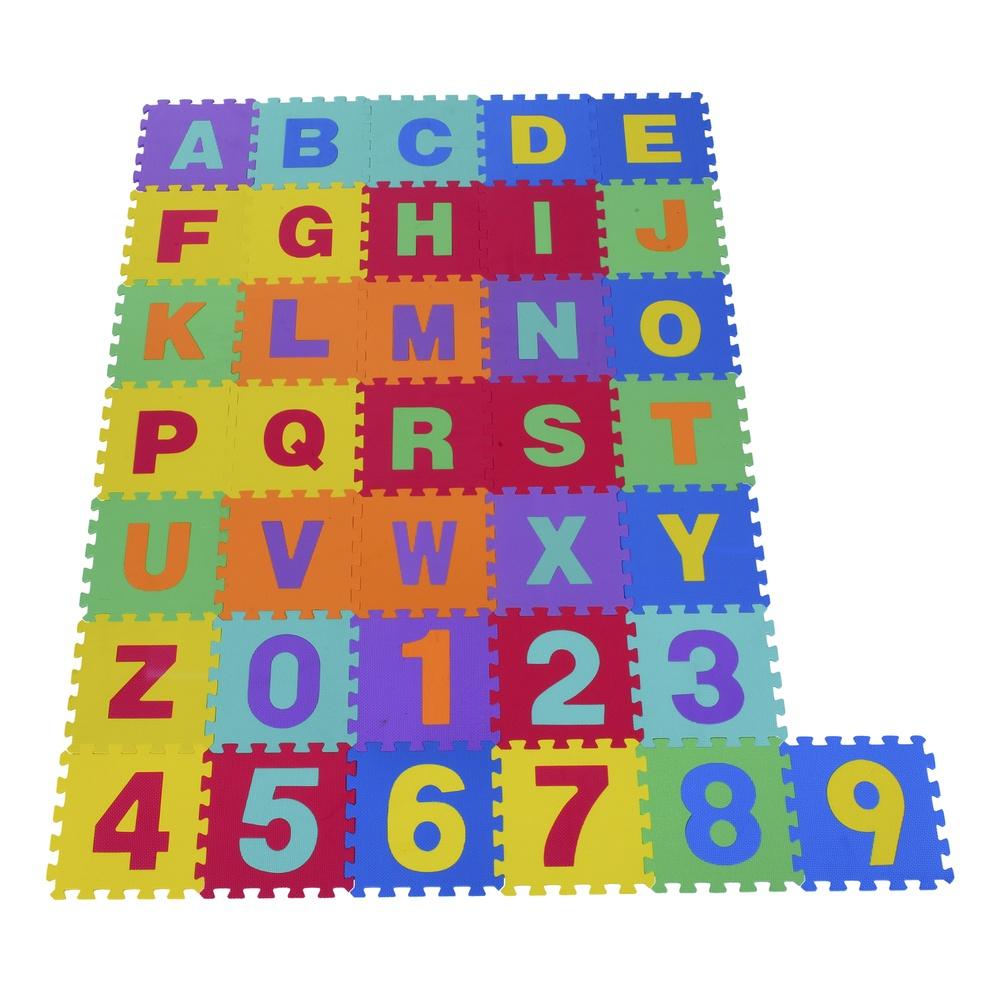 Alfombra Puzzle Letras y Números Goma Espuma EVA Aosom 3 años - Alfombras Actividades - bebitus.com
