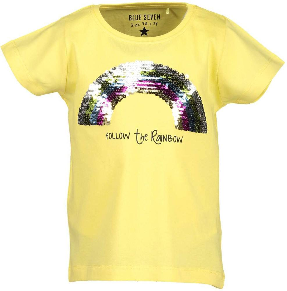 Blue Seven Rundhals T Shirt Regenbogen Wendepailletten T Shirts
